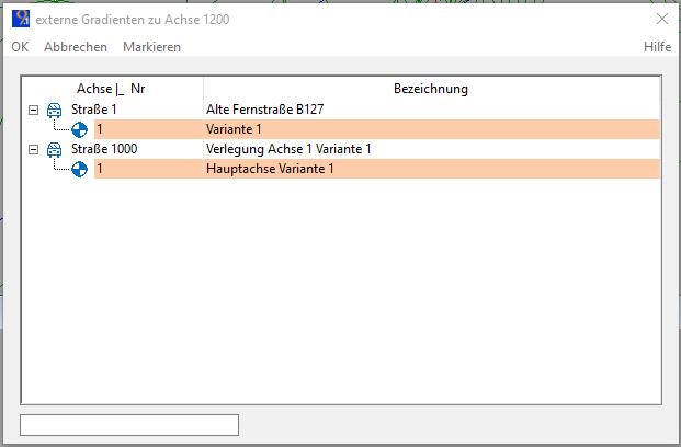 """Abbildung 3: Auswahl der externen Gradienten, die markierten Zeilen werden am Bildschirm angezeigt. Zur Markierung benutzen Sie am einfachsten die """"Einfügen-Taste""""."""