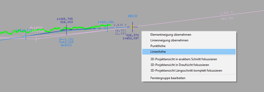 Abbildung 5: Die dargestellten externen Gradienten können für den Punkt- und Höhenfang bei der Bearbeitung der aktuellen Gradiente genutzt werden.
