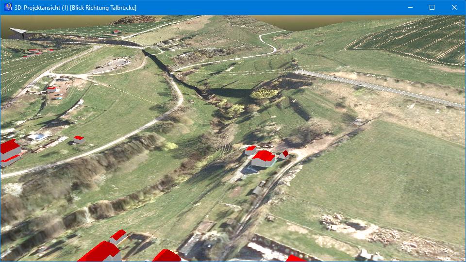 """Abb. 5: 3D-Ansicht mit unter der Brücke angepasstem Orthofoto (Quelle der Geodaten: © GDI-Th,<a href=""""http://www.govdata.de/dl-de/by-2-0"""" target=""""_blank"""" rel=""""noopener"""">dl-de/by-2-0</a>)"""