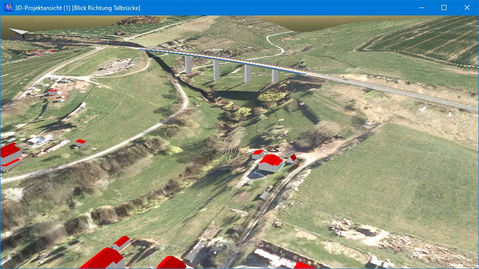 """Abb. 6: 3D-Ansicht mit Orthofoto, 3D-Gebäuden und Brücke (Quelle der Geodaten: © GDI-Th,<a href=""""http://www.govdata.de/dl-de/by-2-0"""" target=""""_blank"""" rel=""""noopener"""">dl-de/by-2-0</a>)"""