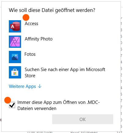 Abbildung 09: MDC-Dateien dauerhaft mit Access verknüpfen