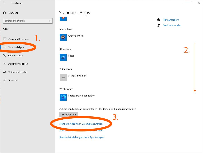 Abbildung 03: Standard-Apps wählen