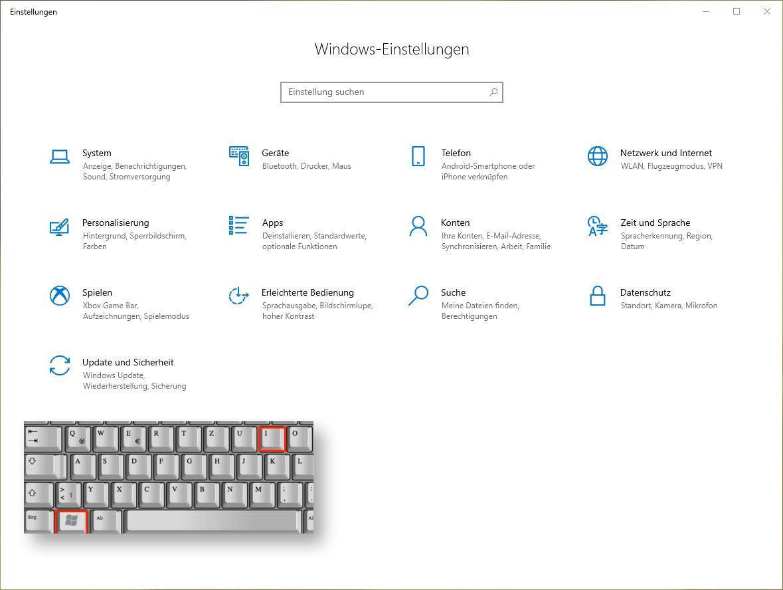 Abbildung 02: Startbildschirm der Windows-Einstellungen