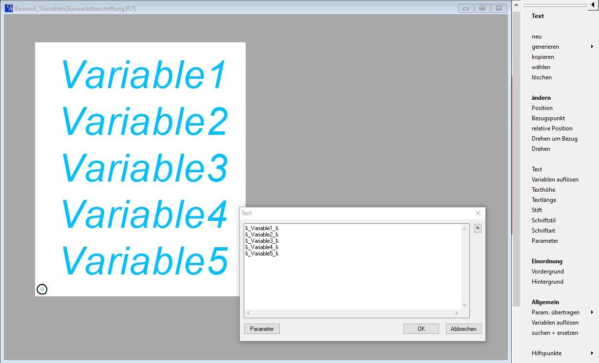 Abbildung 2: Zeichnungsobjekt mit Platzhaltertexten für Textvariablen