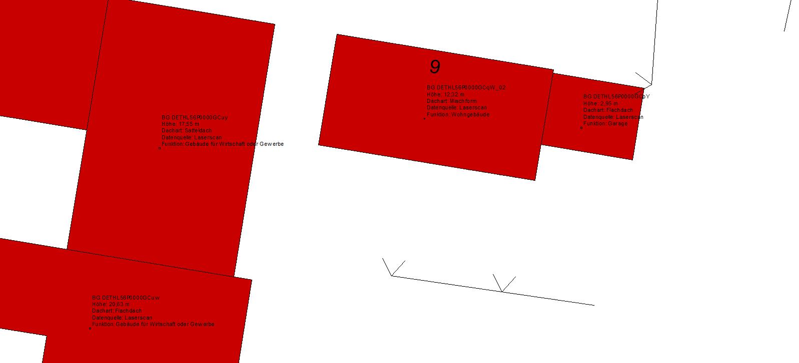 Abbildung 4: Achszeichnung mit CityGML-Bauwerken und Beschriftung aus Nebenattributen