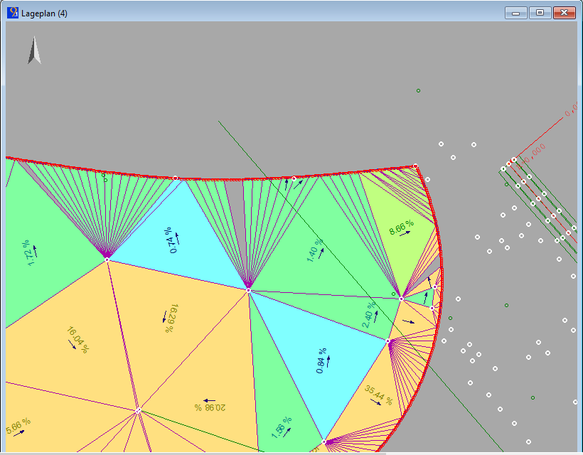 Abbildung 2: fehlende Dreiecke wegen unterschiedlicher Pfeilhöhe für Umring und Bruchlinie